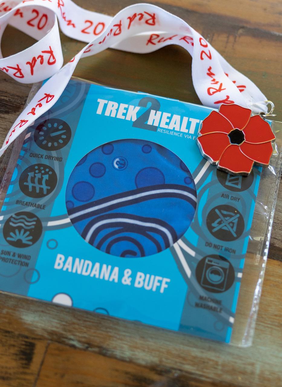 All participants receive Red Run Medal and Trek2Health bandana